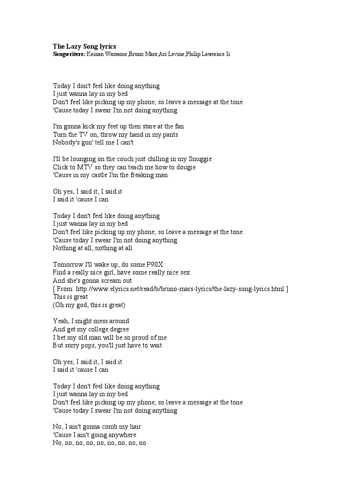 The Lazy Song T