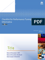 Checklist for Performance Tuning in a
