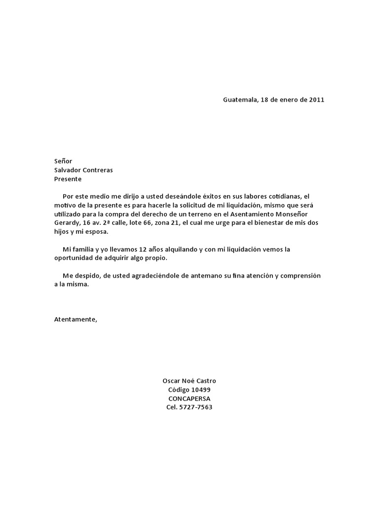 carta de solicitud de liquidacion