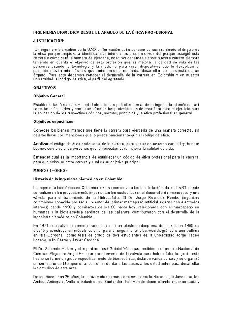 INGENIERIA BIOMÉDICA DESDE EL ÁNGULO DE LA ÉTICA PROFESIONAL