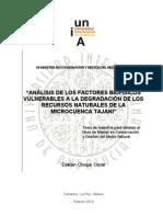 Analisis de Los Factores Biofisicos de La Microcuenca Tajani Bolivia