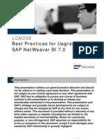 LCM208 Best Practices for Upgrading Tp SAP Netweaver BI 7.0