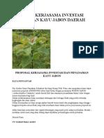 Proposal Kerjasama Investasi Penanaman Kayu Jabon Daerah Bali