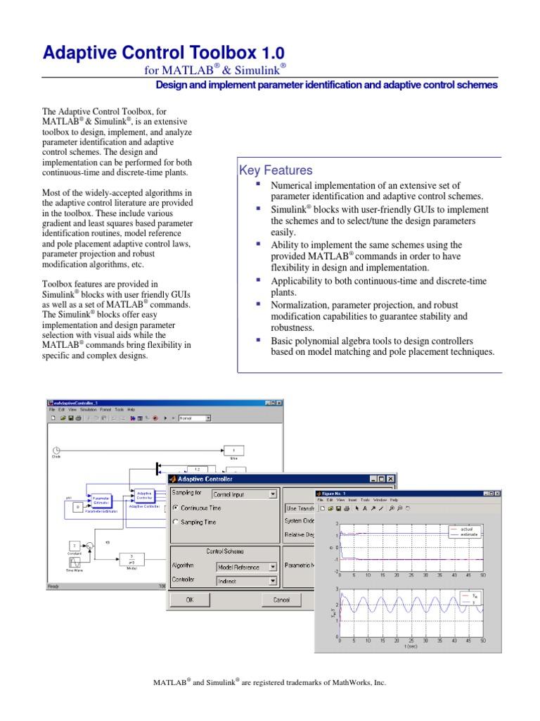 adaptive control toolbox and blockset matlab robust statistics rh scribd com Adaptive Solutions Brooklyn Adaptive Solutions St. Louis