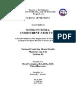 Schizophrenia NCMH Case Study