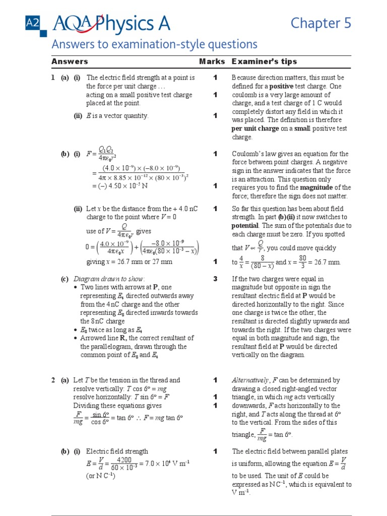 Aqa A2 Physics A Chapter 5 Textbook Answers Electric Charge Force