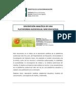 Descripción analítica de una plataforma audiovisual web educativa