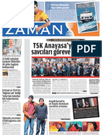 TSK Anayasa'yı ihlal etti Savcıları göreve çağırıyoruz Zaman Gazetesi 9/04/2011