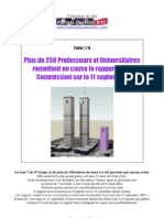 Plus de 250 Professeurs & Universitaires remettent en cause le rapport de la Commission sur le 11 Septembre