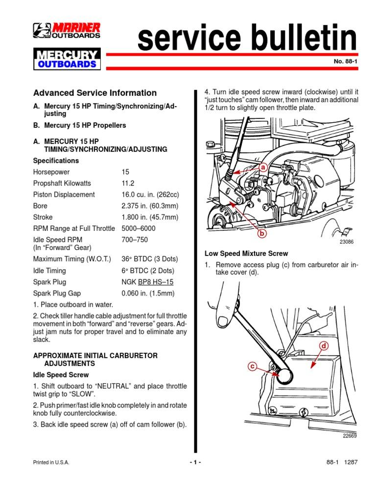 Mercury 15 2t Timing   Carburetor   Throttle