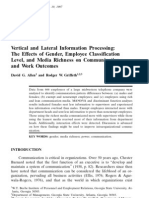 Vertical and Lateral Information Processing the Effects of Gender Employee Classification Level