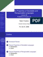 Lecture 28 - Closure Properties