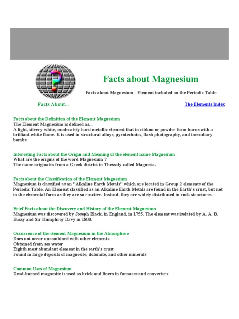 Facts about magnesium magnesium chemical elements urtaz Gallery