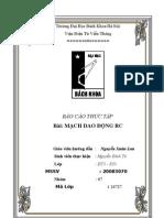 báo cáo thực tập mạch dao động RC- Nguyễn Đình Tú - DDT3 -K53