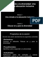 Presentación Módulo 1 Sesión 2 Educar en y para la diversidad