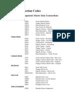MM Transaction Codes
