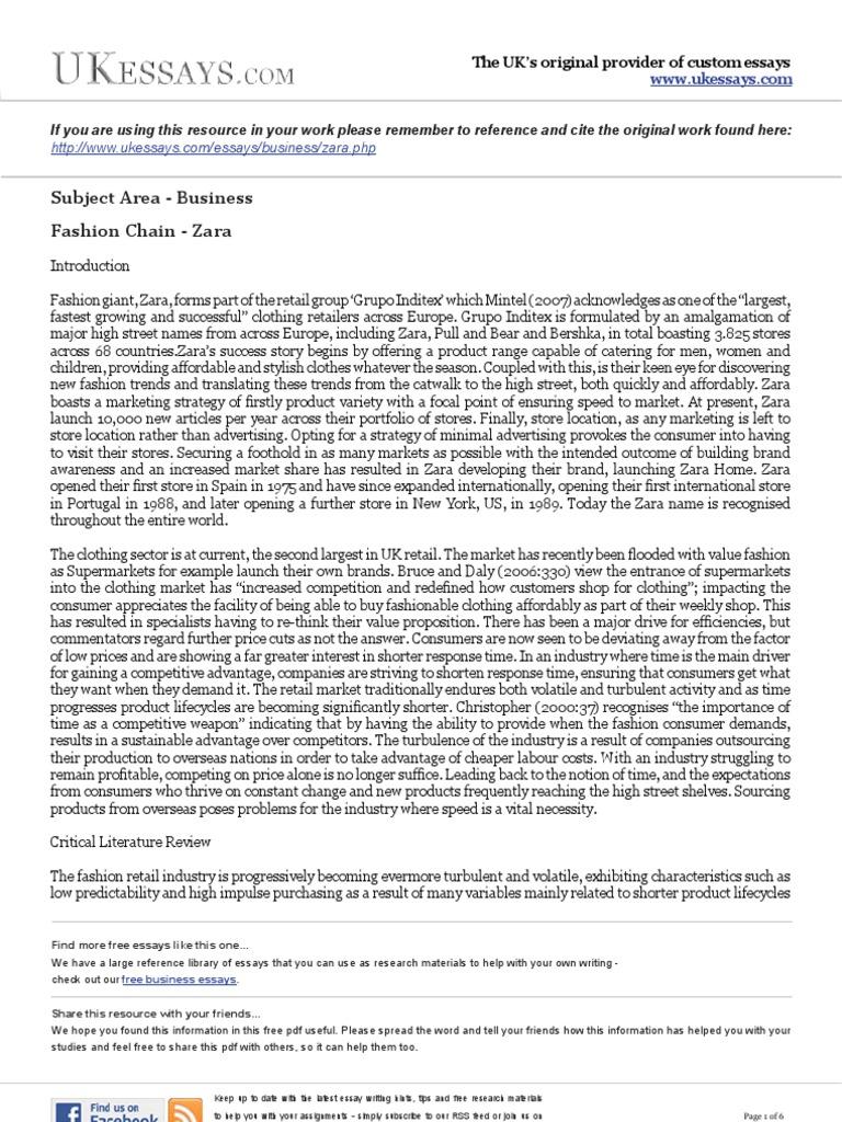 Business Essays  Zara  Strategic Management  Retail