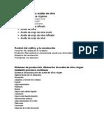 Clasificación de los aceites de oliva