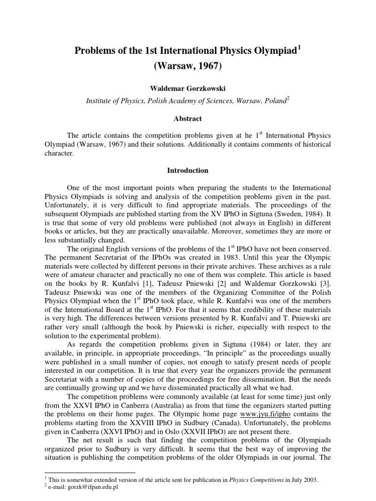 IPhO (1967 - 2010)   Temperature   Sphere