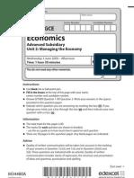 Economics Unit 2 June 2009 Qp