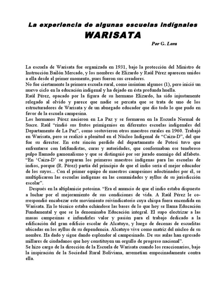 ESCUELA DE WARISATA
