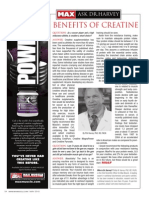 "[ASK DR. HARVEY]  ""BENEFITS OF CREATINE"""