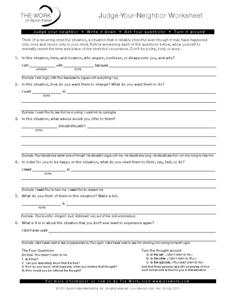 ByronKatie Judge Your Neighbor Worksheet | Pensamiento | Ira