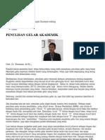 Warsiman - Penulisan Gelar Akademik