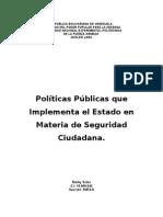 Políticas Públicas que implemente el Estado en Materia de Seguridad Ciudadana