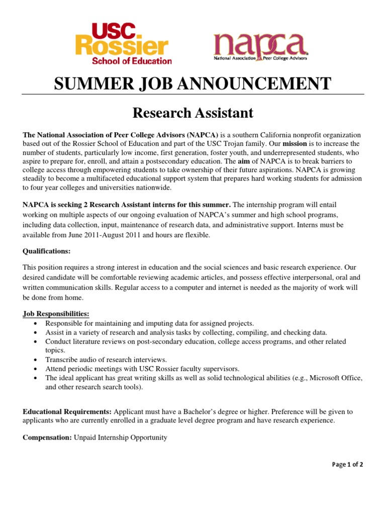 Summer Job Announcement: Research Assistant