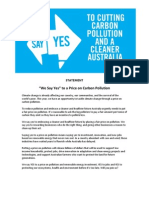 We Say YES Statement and Signatories May 2011