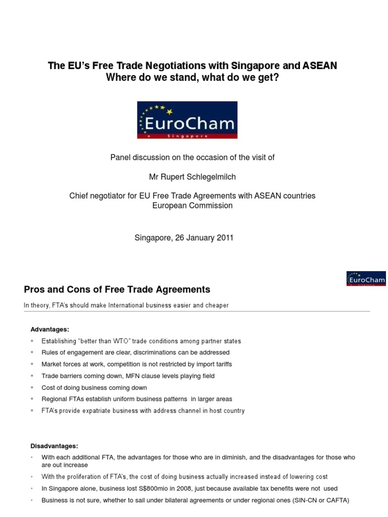 110126 Eurocham Fta Trade Policy Breakfast Talk Association Of