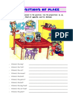 Prepositions of place worksheet 01