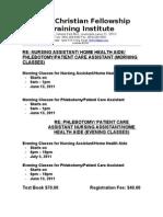 FCFTI - Class Schedule 2011