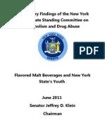 Prilim. Report of Senator Alcoholism & Drug Abuse Committee on High Alcohol Flavored Malt Beverages