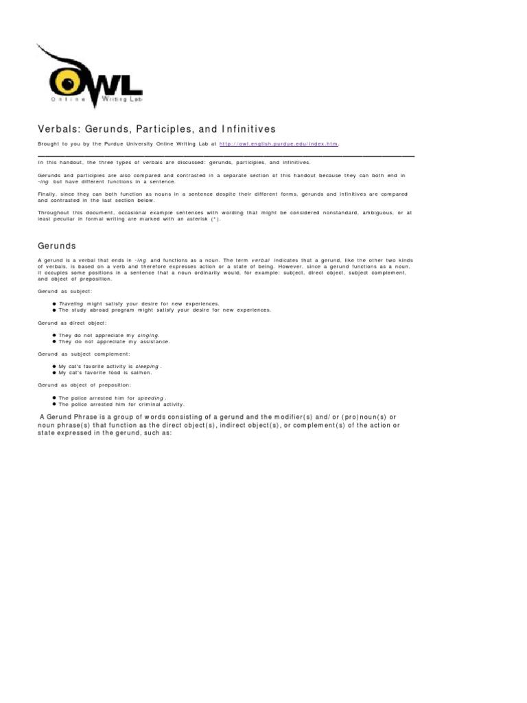 worksheet Gerunds And Gerund Phrases Worksheet g verbals verb adjective