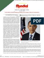 Carta abierta a Barack Obama, presidente de los Estados Unidos de Norteamérica