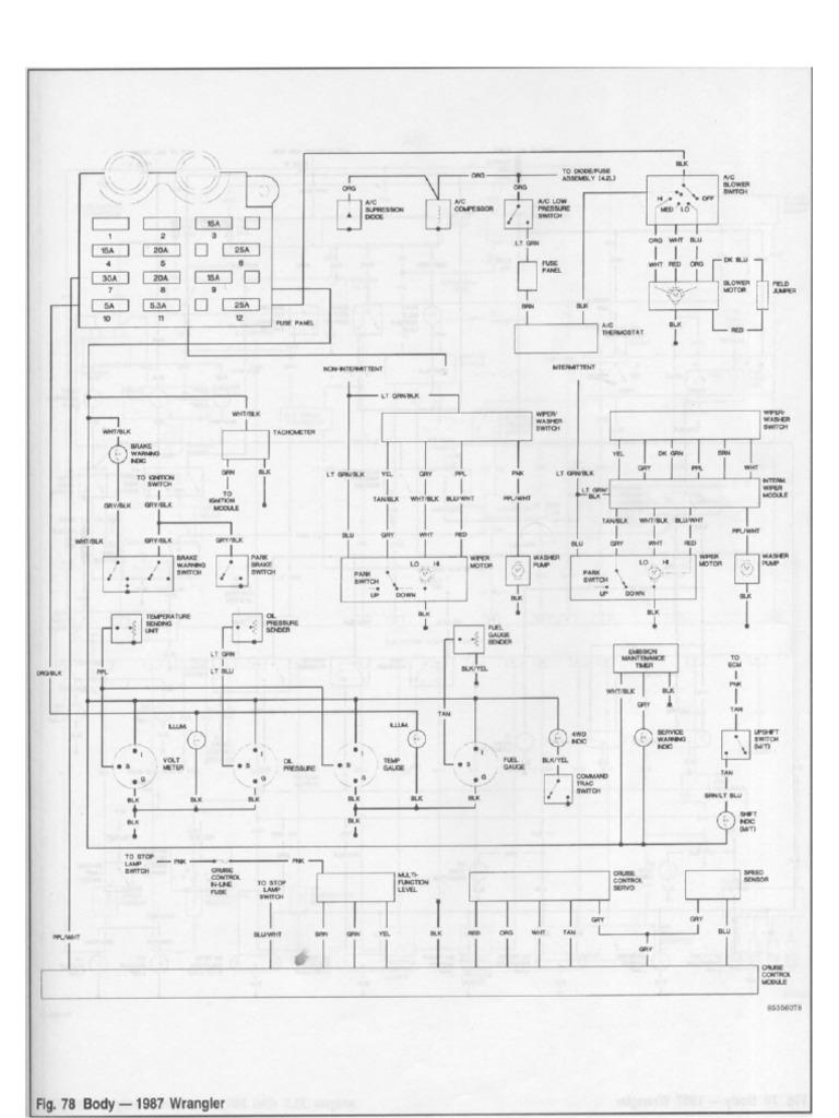 jeep wrangler yj fsm wiring diagrams  scribd