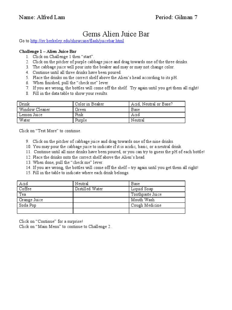 {Alien Juice BarOnline pH Activity Drink – Alien Juice Bar Worksheet