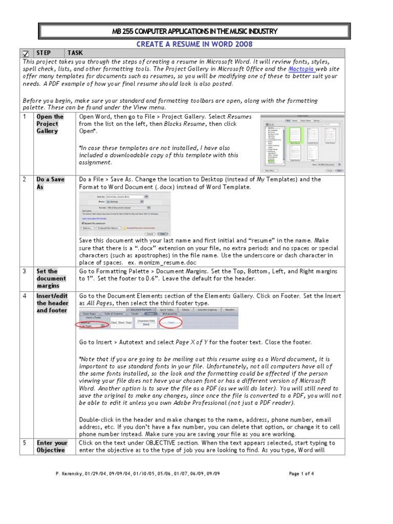 Resume Instrofc08 Microsoft Word Rsum