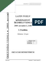 Középszintű latin érettségi 2005 november feladatlap