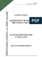 Középszintű latin érettségi 2005 november megoldókulcs