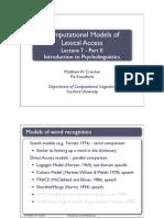 Models of Word Rec