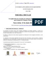 Tercera Circular, Tercer congreso latinoamericano de Arqueometría