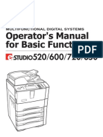 E-Studio 520, 600, 720, 850 Basic Function Operators Manual (UK)