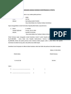 Surat Perjanjian Gadai Rumah Kontrakan 3 Pintu