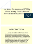 A Study on Awareness of Child Abuse Among Msw