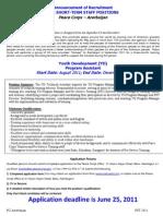 Peace Corps Youth Development Program Assistant - Short Term Staff Positions - Announcement of Recruitment