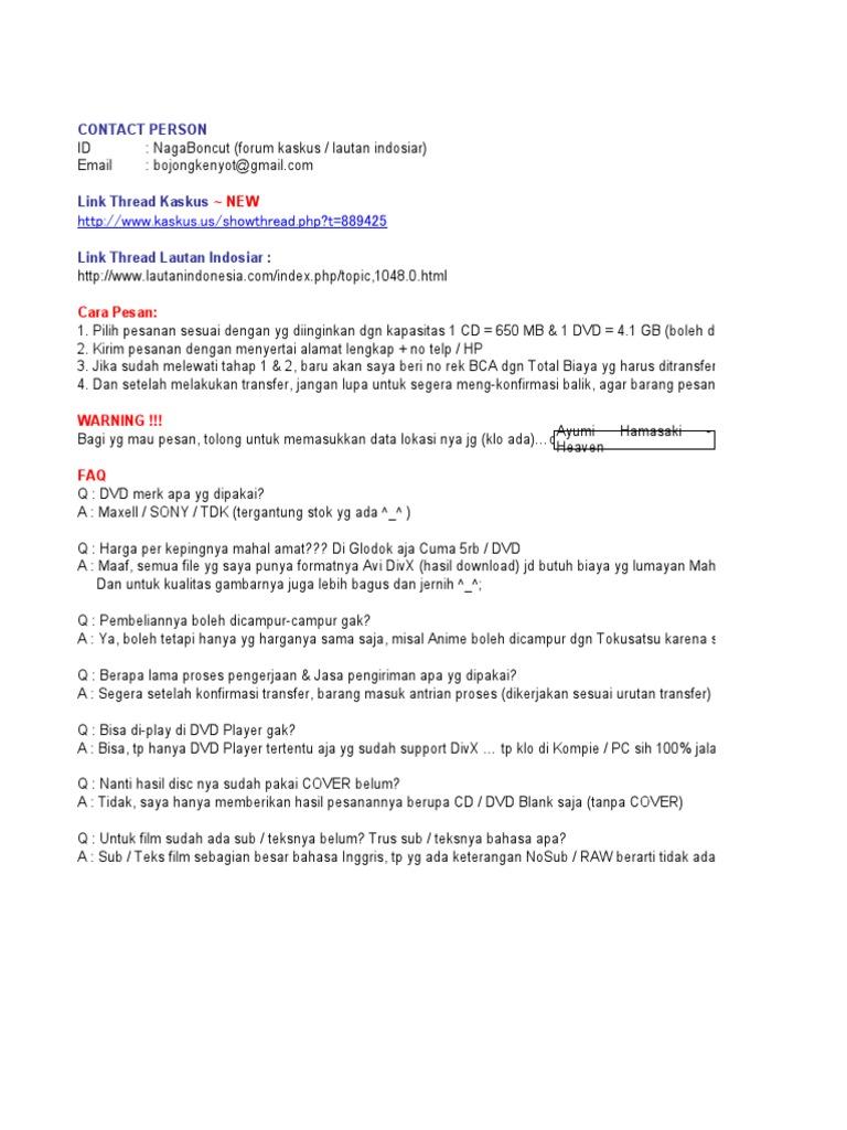 List Boncut 09 Desember 2010