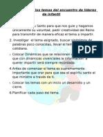 Requisitos Para Los Temas Del Encuentro de Lideres de Infantil